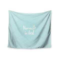 Kess InHouse Kess Original 'Namaste In Bed Teal' White 51x60-inch Wall Tapestry