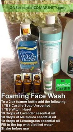 Make your own foaming face wash with essential oils. This is a great facial cleanser to use on a daily basis. It works great- calms and cleans troubled skin. And it smells amazing! So much less expensive when you make it on your own. click for info on where to get foamer bottles