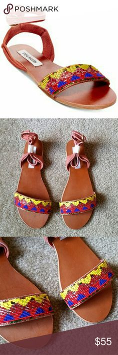 STEVE MADDEN Jewels Flat Sandals NWT! ????? Vibrant embroidered beads on the vamp exude charm ????? *Suede upper *Open toe *Adjustable ankle strap *Leather lining *Padded insole Steve Madden Shoes Sandals