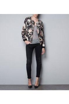 $40.99 Black Floral Print Jacket @MayKool