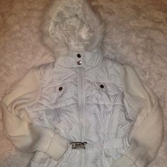 White XL jacket with hood and 4 pockets Nice new jacket with sweater knit sleeves, hood, elastic removable belt it marked 2XL fits better XL Ashley Jackets & Coats