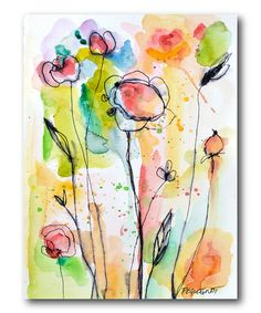 """on #zulily! Watercolor pastel modern Flowers wrapped canvas #zulilyfinds $35.00  16""""wx20""""h"""