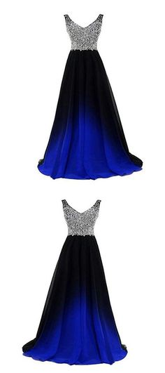 Popular A-Line V-Neck Two Straps Beaded Chiffon Long Prom Dresses on Luulla Tight Prom Dresses, Unique Prom Dresses, Mermaid Prom Dresses, Homecoming Dresses, Strapless Dress Formal, Beautiful Dresses, Graduation Dresses, Party Dresses, Prom Outfits