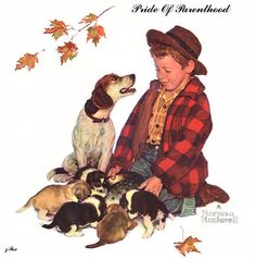 Pride of Parenthood, Illustration for the 1958 Brown & Bigelow Four Seasons Calendar Print by Norman Rockwell Norman Rockwell Prints, Norman Rockwell Paintings, Peintures Norman Rockwell, Saturday Evening Post, Famous Artists, Dog Art, American Artists, Belle Photo, Art Prints