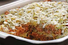 Healthy Living - Easy Layered Cabbage Casserole - You know that labor-intensive stuffed cabbage recipe you love? This brings the same cabbage, ground beef/turkey and rice goodness to the table—minus the labor but not the love. Cabbage Recipes, Beef Recipes, Cooking Recipes, Healthy Recipes, Protein Recipes, Healthy Foods, Cabbage Casserole, Beef Dishes, Recipes