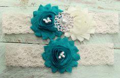 Teal Garter Set   Wedding Garters Ivory Lace by WeddingGarterShop