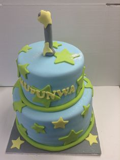 Green and blue starry birthday cake - Belle's Patisserie