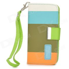 Brand: No; Model: ZS002; Quantity: 1 Piece; Color: White + light blue + olive green + orange; Material: PU leather + plastic; Compatible Models: Iphone 5C; Other Features: Protects your device from scratches dust and shock; comes with a hand strap for convenient use. With 3 card slots; Packing List: 1 x Protective case1 x Hand strap; http://j.mp/1q1qG06