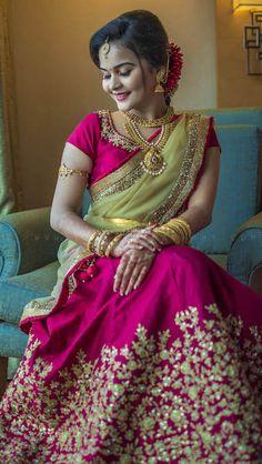 Shopzters is a South Indian wedding site Lehenga Saree Design, Half Saree Lehenga, Lehnga Dress, Lehenga Designs, Pink Lehenga, Indian Gowns Dresses, Indian Fashion Dresses, Indian Designer Outfits, Half Saree Designs