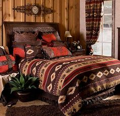 Cimarron Southwestern Bedding includes 1 comforter, 1 bed skirt, 2 euroshams (1 for twin), 2 standard shams (1 for twin), and 1 decorative pillow. $380