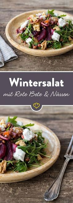 Winter salad with walnuts, lentils and beetroot-Wintersalat mit Walnüssen, Linsen und Roter Bete Colorful through the winter! This salad is full of vitamins, provides you with rich nutrients and brings variety to the salad plate. Salad Recipes, Vegan Recipes, Lentil Recipes, Easy Recipes, Beetroot Recipes, Snacks Recipes, Recipes Dinner, Grilling Recipes, Healthy Snacks