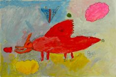 Little red dragon by Nong prem 6 year old kid painting, acrylic on paper.   Kid art class at Artplus School, Thailand. www.theartplus.com    facebook fan page   http://www.facebook.com/pages/Artplus-School/208409779186535 more information please call no. [662]4233194 Thailand. We're available for painting family field trip.