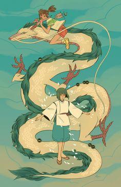 Spirited Away Illustration by Sara Kipin Studio Ghibli Films, Art Studio Ghibli, Totoro, Sara Kipin, Chihiro Y Haku, Character Art, Character Design, Japon Illustration, Girls Anime