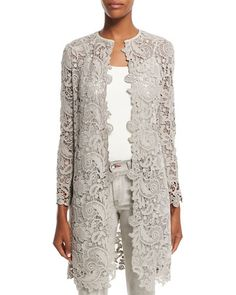 Have: butterfly lace / Need: inspiration Lace Blazer, Lace Jacket, Lace Outfit, Lace Dress, Long Grey Coat, Gray Coat, Kebaya Lace, Mother Of The Bride Suits, Merian