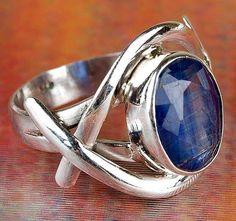 Cianita Natural hecho a mano de la piedra preciosa 925 anillo
