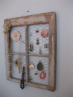 Clever repurpose of old window. Just got an old window. . . . finally have a place to put all my jewelry . . . . will post picture after it's done. .  . it will look something like this!