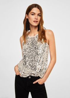 Sequin embroidery top | MANGO