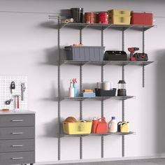 The garage is so much more than a place to park the family car. Give sports and hobby equipment a permanent home with heavy-duty wire shelving and cabinets! #GarageOrganization #GarageCabinets #GarageShelving Garage Shelving, Wire Shelving, Garage Storage, Garage Cabinets, Garage Organization, Shoe Rack, Park, Sports, Home