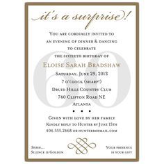 Cool FREE Template Surprise 60th Birthday Party Invitation Wording