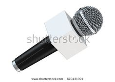 Microphone with blank space box isolated on white background. 3D illustration