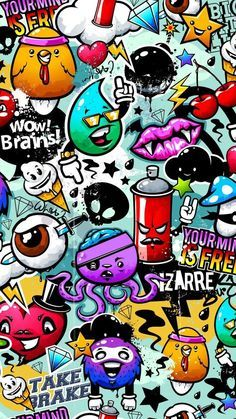 Graffiti Awesome Wallpaper for iPhone Cartoon Wallpaper, Graffiti Wallpaper Iphone, Wallpaper Doodle, Galaxy Wallpaper, Book Wallpaper, Wallpaper Ideas, Girl Wallpaper, Screen Wallpaper, Disney Wallpaper