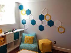 Hexagon Wall Art Turquoise And Yellow