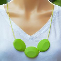 Teething jewellery for you to wear and your baby to chew. All BubbaGummy products are made from food-safe silicone to Australian and FDA standards. Teething Jewelry, Teething Necklace, Washer Necklace, Gifts For Mum, Great Gifts, Green Flats, Necklaces, Beads, Stone