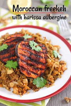 Moroccan freekeh with harissa aubergine - a super tasty vegan meal in just 30 minutes! Veggie Recipes Healthy, Delicious Vegan Recipes, Gourmet Recipes, Cooking Recipes, Tasty, Meal Recipes, Spicy Recipes, Vegetarian Food, Freekah Recipes