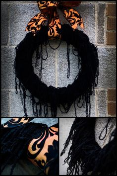 (Could easily be done with Creepy Cloth, cheesecloth, or fake spiderwebs) Black Widow Wreath | The Chickadee Shop