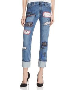 Alice + Olivia Hanna Rolled-Cuff Patchwork Jeans in Vintage Wash | Bloomingdale's