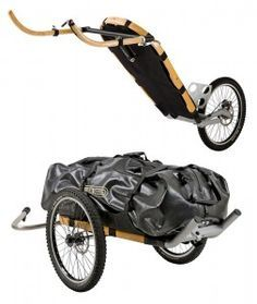 The MONOWALKER, designed by Kai Fuchs, is a great looking wooden and aluminum bike trailer, but as you might guess from the name it is more than that. The product is primarily a single wheeled hiking trailer, but by adding another wheel and a bike drawbar, you can convert it into a cycling trailer.