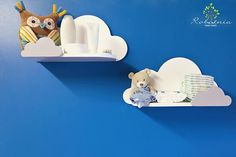 Set of two lovely handmade wooden cloud shelf. 8 inches deep. For your childrens toys, books or any other treasures :) Material used - plywood, acrylic non toxic paint and finished with non toxic varnish (approved for painting toys) . With keyholes on the back, ready to hang on the wall.