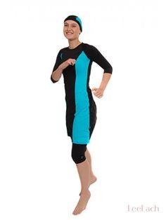 Long Turquoise & Black Tunic Modest Swim Suit - Leelach