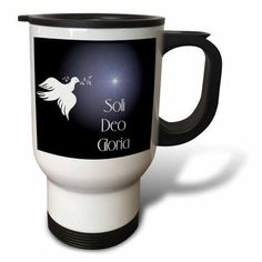3dRose Dove with an olive branch, bright star and Soli Deo Gloria, Glory to God Alone. on dark blue bk.., Travel Mug, 14oz, Stainless Steel