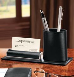 Leather Pencil Cup and Card Stand - Zoom
