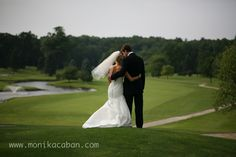 bride and groom, wedding on a golf course