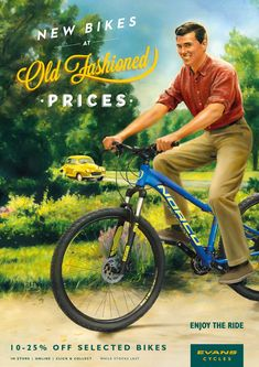 Evans Cycles: Guy New bikes at old fashioned prices. Advertising Agency: Antidote, London, UK