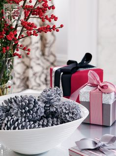 Black white silver and red! See the xmas interior decor of this lovely home - images by Donna Griffith via Style At Home Pine Cone Decorations, Christmas Decorations, Christmas Mood, Merry Christmas, Classy Christmas, Christmas Countdown, Christmas 2014, Christmas Stuff, Handmade Christmas