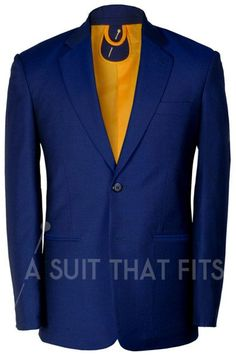 Navy Première Two Piece Suit with a yellow lining.