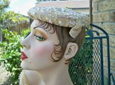Vintage 1940's Ladies Sequined Cocktail Hat Lace Lining from   Aunt Bea's Millinery!