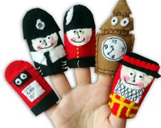London , England British Finger Puppets / Felt Children's / Police Man / Big Ben / Soldier / Beefeater / Postbox Felt Puppets, Felt Finger Puppets, Hand Puppets, Traditional Kids Toys, Toddler Toys, Baby Toys, English Gifts, British Gifts, Bee Theme