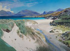 Luskentyre Beach, South Harris by Bob Rudd. Landscape Photography, Landscape Paintings, Beach Painting, Traditional Paintings, Watercolor Landscape, Digital Painting, Seascape Paintings, Landscape Art, Water Painting