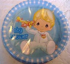 baby blue boy precious moments baby shower plates tableware decorations theme