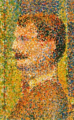 Georges Seurat : Pointillism// Georges Pierre Seurat (2Dec1859 - 29March1891) French Post-Impressionist painter & draftsman. He is noted for his innovative use of drawing media and for devising a technique of painting known as pointillism. After his painting was rejected by the Paris Salon, Seurat turned away from such establishments, instead allying himself with the independent artists of Paris.