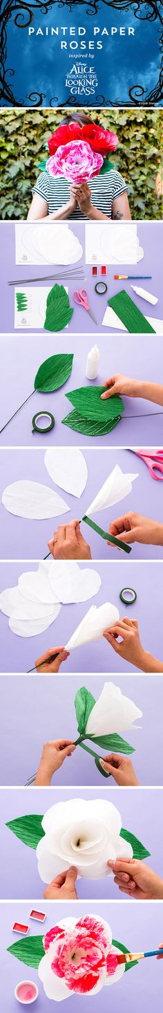 Paint the roses red with these gorgeous crepe paper flowers and win big points with the Red Queen. Make a bouquet of different colors to add some pop to your next Alice tea party or event. http://di.sn/649888IKo
