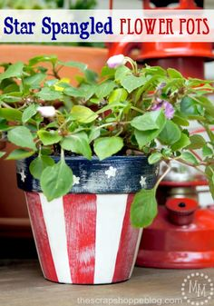 Star Spangled Flower Pots #decoartprojects #patiopaint #july4th