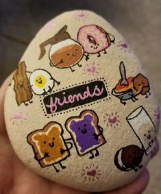 Food friends painted rock