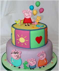 Peppa Pig Cake - Cake by Serena Galli Peppa Pig Princesa, Cumple Peppa Pig, Tortas Peppa Pig, Party Food And Drinks, Cake Images, Queso, 2nd Birthday, Happy Birthday, No Bake Cake