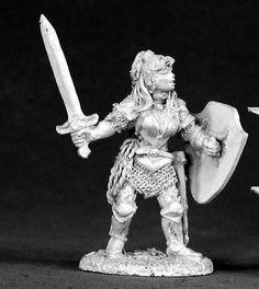 Reaper Miniatures Nicole Of the Blade 02535 Dark Heaven Legends Unpainted Metal Reaper Miniatures, Fantasy Miniatures, Pewter Metal, Miniature Figurines, Metal Models, Dungeons And Dragons, Lion Sculpture, Statue, Dark