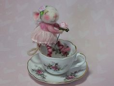 """I J'adore childrens china teasets. Rose Fairy with German doll teacup 3"""" needle felted mouse by felted mice"""